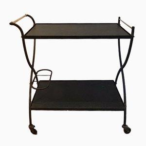 Carrito de latón y metal lacado en negro, años 50