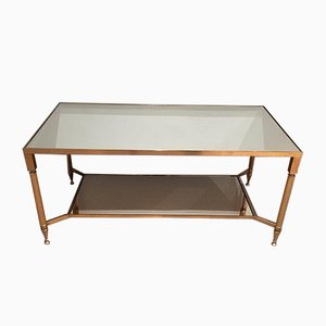 Gilt Metal Coffee Table with Mirrored Shelf, 1960s