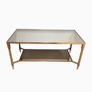 Table Basse en Métal Doré avec Étagère Miroir, 1960s