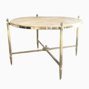 Round Brass Coffee Table with Marble Top from Maison Bagues, 1940s