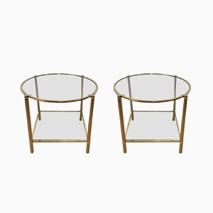 Tables d'Appoint Ronde en Laiton, 1960s, Set de 2