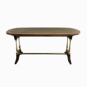 Neoclassical Style Wood, Brass, and Leather Coffee Table, 1940s