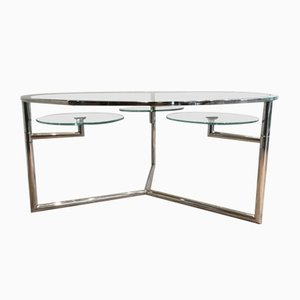Chrome Coffee Table with Removable Round Glass Shelves, 1970s