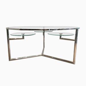 Mesa de centro de cromo con bandejas redondas de vidrio extraíbles, años 70