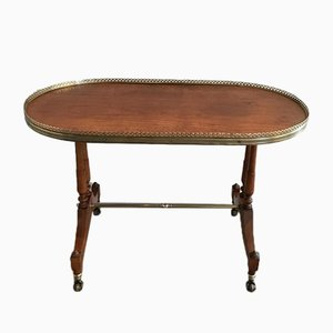 Neoclassical Style Oval Coffee Table in Wood and Brass, 1940s