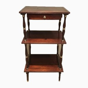 Neoclassical Mahogany, Leather, and Brass Shelving Unit, 1950s