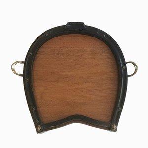 Bandeja de herradura de madera y latón, años 40