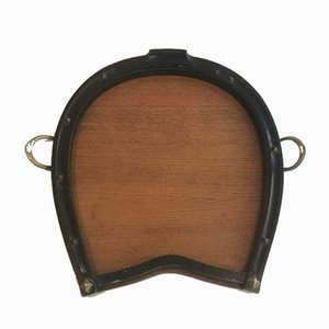Horseshoe Wood and Brass Tray, 1940s
