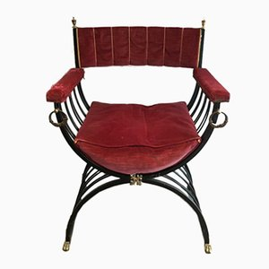 Black Iron and Brass Armchair with Lion Feet, 1950s