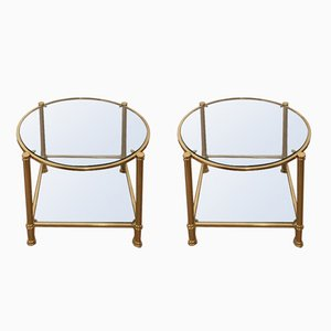 Round 2-Tier Side Tables in Brass, 1970s, Set of 2
