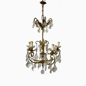 Lámpara de araña francesa vintage de cristal