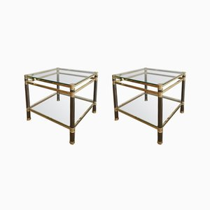 Gun Metal & Brass Side Tables, 1970s, Set of 2