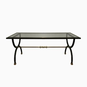Neoclassical Style Black Steel and Brass Coffee Table, 1950s
