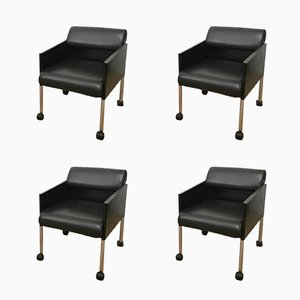 Black Lacquer and Leather Armchairs on Casters from Rosenthal, 1970s, Set of 4