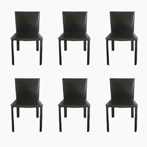 Black Leather Chairs from De Couro of Brazil, 1980s, Set of 6