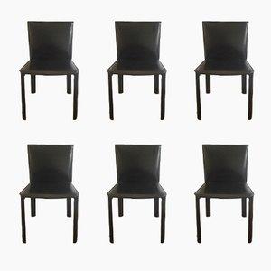 Chaises en Cuir Noir de De Couro de Brazil, 1980s, Set de 6