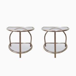 Mesas auxiliares redondeadas de bambú de imitación y níquel, años 70. Juego de 2