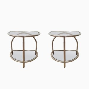 Rounded Faux Bamboo & Nickel Side Tables, 1970s, Set of 2