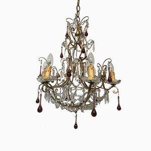 Lustre Vintage Perlé en Cristal avec Gouttes en Verre de Murano