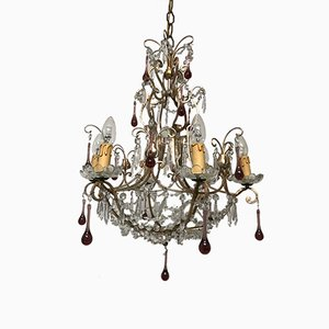 Vintage Crystal-Beaded Chandelier with Murano Glass Pendant Drops