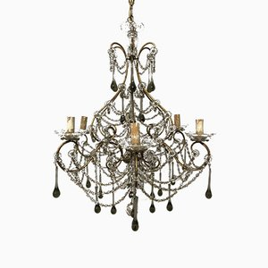 Vintage Murano Glass & Crystal-Beaded Macaroni Chandelier