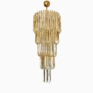 Triangular Murano Glass & Gilt Gold Chandelier by Paolo Venini, 1970s