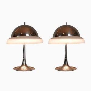 Vintage Chrom Tischlampen von Goffredo Reggiani, 2er Set
