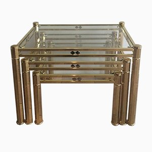 Tables Gigognes en Laiton, 1970s