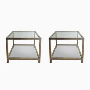 Brass and Nickel Side Tables, 1970s, Set of 2