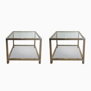 Messing & Nickel Beistelltische, 1970er, 2er Set