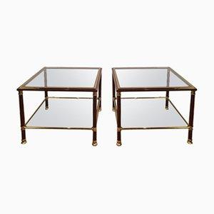 Tavolini in ottone, anni '70, set di 2