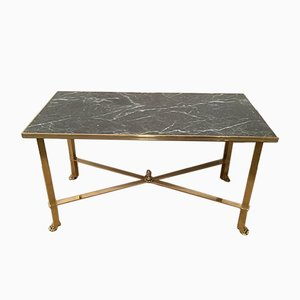 Brass Coffee Table with Claw Feet & Faux Marble Top, 1940s