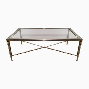 Brushed Steel and Brass Coffee Table, 1970s