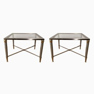 Brushed Steel and Brass Side Tables, 1970s, Set of 2