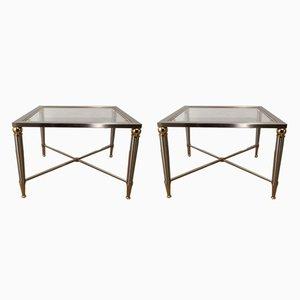 Mesas auxiliares de acero cepillado y latón, años 70. Juego de 2