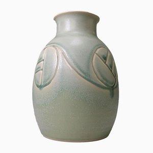 Jarrón danés de cerámica en verde menta y aguamarina de Søholm, años 60