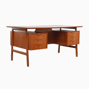 Vintage Danish Model 75 Teak Desk from Omann Jun
