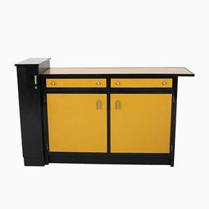 Mueble escolar Art Déco en amarillo y negro de haya de Frits Spanjaard para Winterkamp & Van Putten