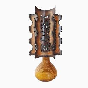 Lámpara de mesa francesa Mid-Century de acero y cerámica de Accolay
