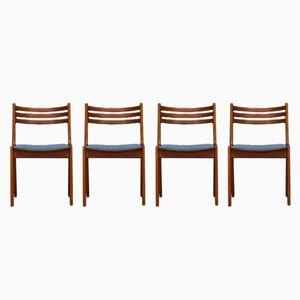 Dänische vintage Teak Furnier Esszimmerstühle, 4er Set