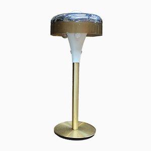 Lámpara de pie de plástico y latón de Soucoupe, años 70