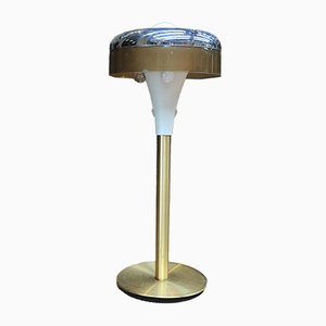 Plastic & Brass Floor Lamp from Soucoupe, 1970s