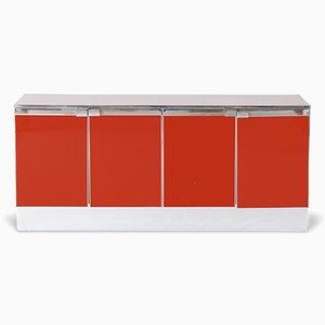 Credenza in metallo cromato rosso, anni '60