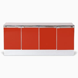 Red Lacquered & Chrome Credenza, 1960s