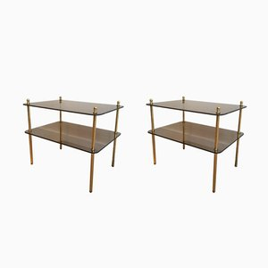 Brass & Smoked Glass Side Tables, 1960s, Set of 2