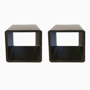 Black Lacquered Wooden Side Tables, 1980s, Set of 2
