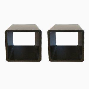Mesas auxiliares de madera lacada en negro, años 80. Juego de 2