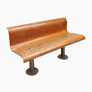 Vintage French Industrial Train Bench