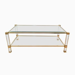 Lucite and Gilded Metal Coffee Table by Pierre Vandel, 1970s