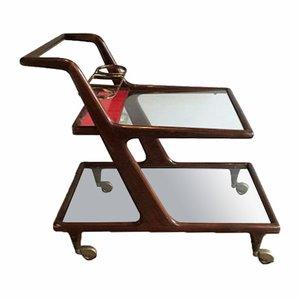Italienischer Servierwagen aus Holz Messing & Glas, 1950er